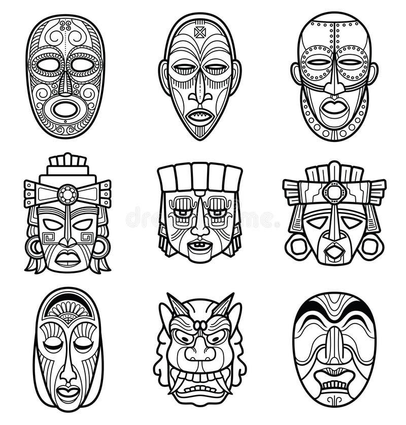 Индийский ацтек и африканский исторический племенной комплект вектора маски иллюстрация вектора