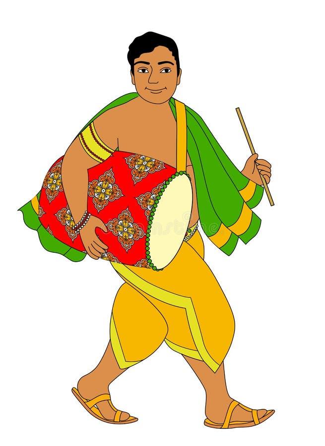 Индийский барабанщик иллюстрация штока