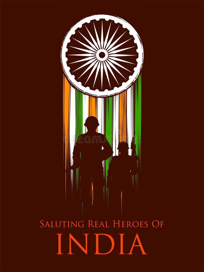 Индийский герой нации soilder армии на гордости предпосылки Индии иллюстрация штока