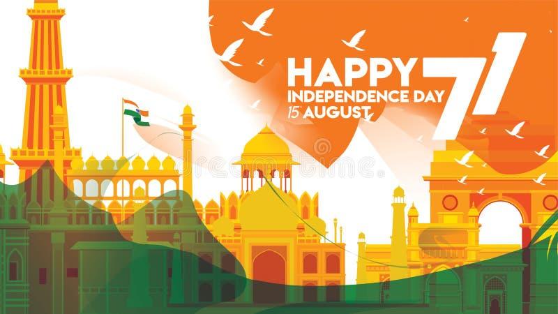 Индийский дизайн знамени предпосылки Дня независимости для крышки или приветствия иллюстрация вектора
