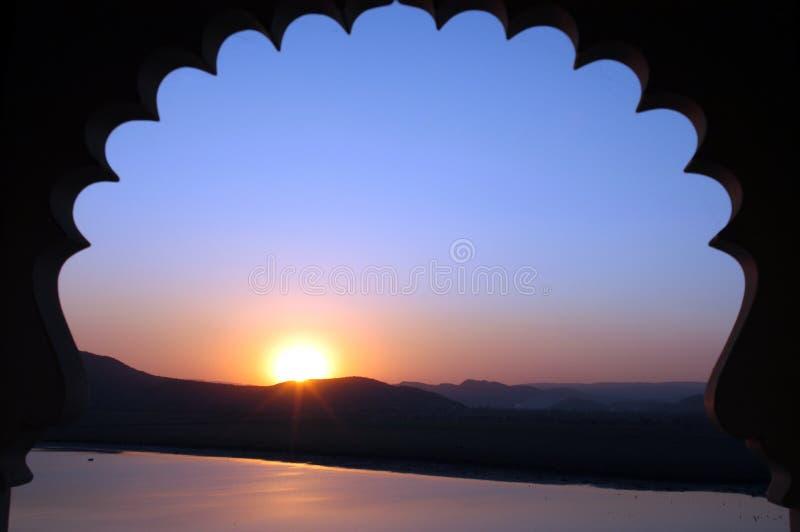 индийский заход солнца стоковая фотография