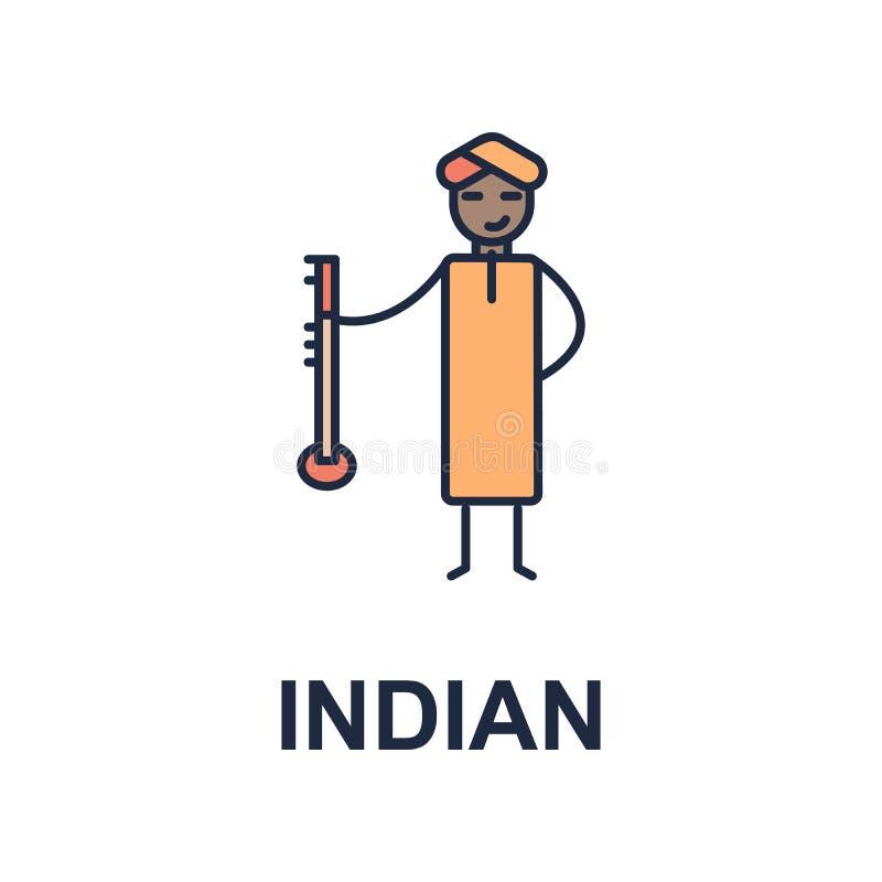 индийский значок музыканта Элемент значка стиля музыки для передвижных apps концепции и сети Покрашенный индийский значок стиля м иллюстрация штока