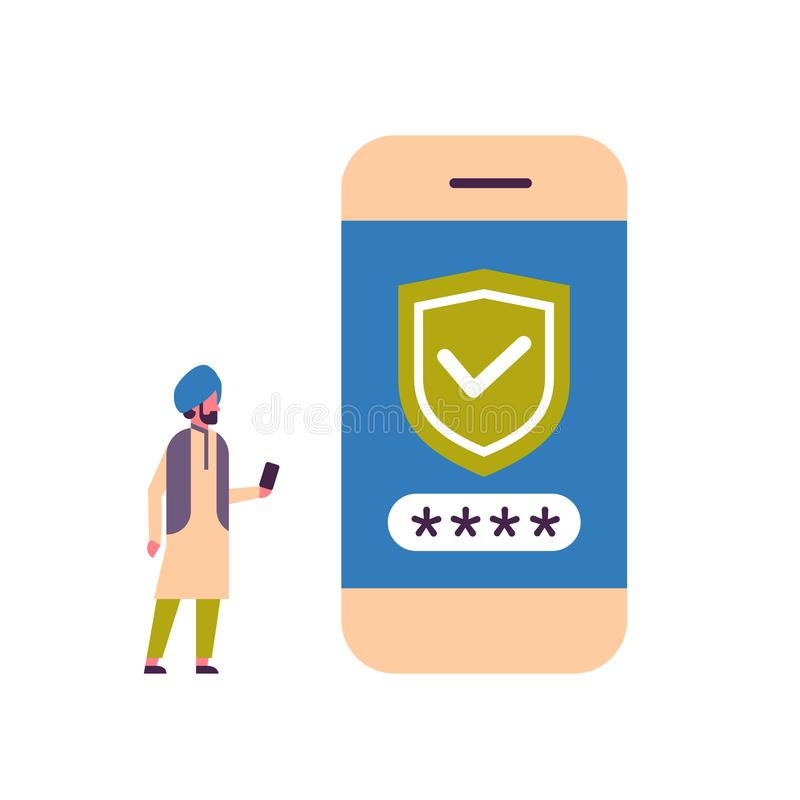 Индийский изолированный человек открывает концепцию доступа app безопасностью проверки smartphone передвижную плоско во всю длину иллюстрация штока