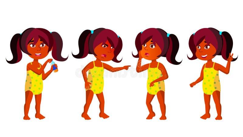 Индийский ребенк детского сада девушки представляет установленный вектор индусско Ребенок, выражение ребенка раздето каникула тер иллюстрация вектора