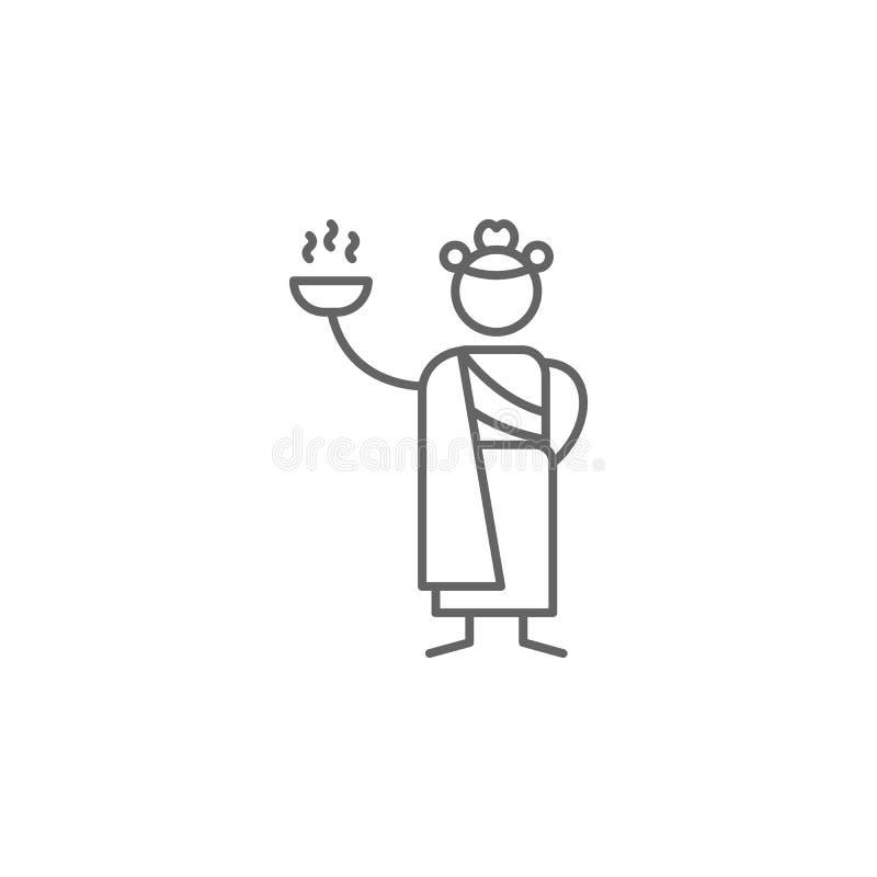 Индийский ресторан, значок официантки Элемент значка ресторана E иллюстрация штока