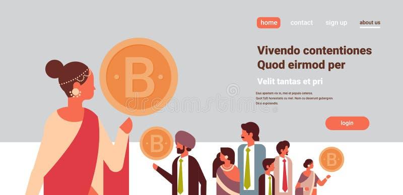 Индийский руководитель коммерсантки держа концепции минирования валюты bitcoin персонаж из мультфильма встречи команды секретной  иллюстрация штока