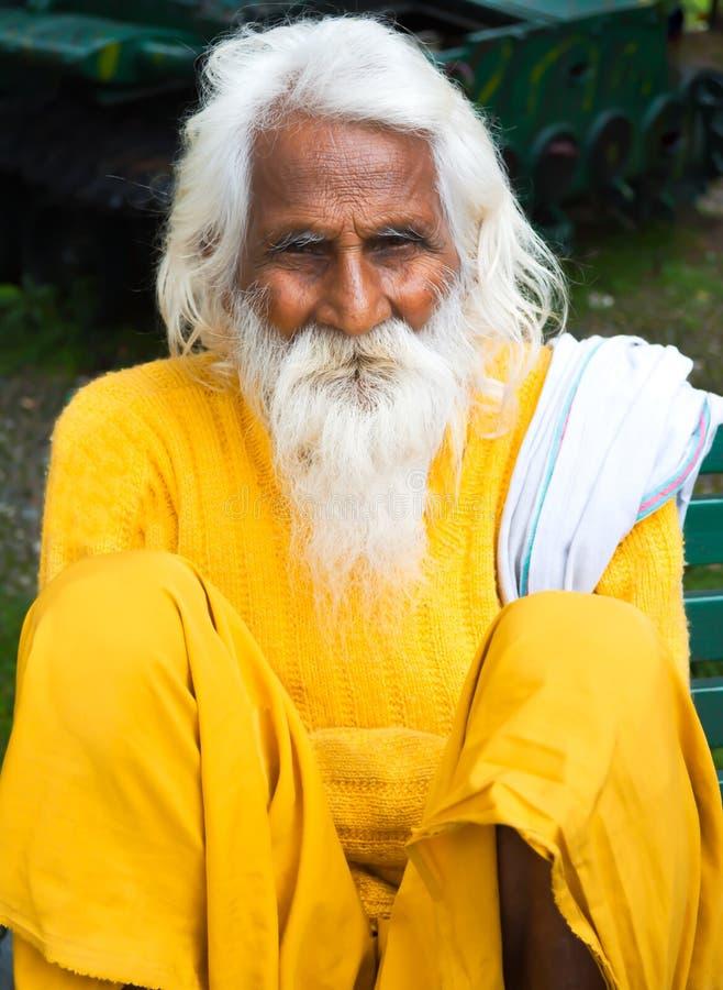 Индийский святой человек на обочине стоковые фотографии rf
