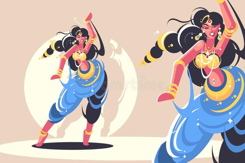 Индийский танец девушек иллюстрация штока