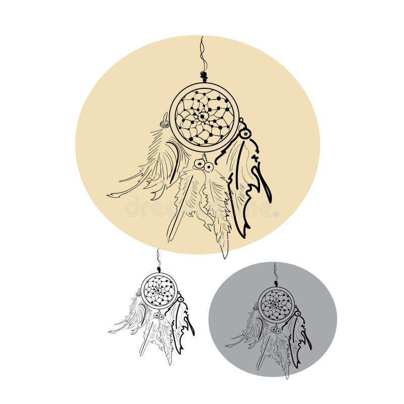 Индийский уловитель мечты, иллюстрация вектора для карты, печати иллюстрация штока