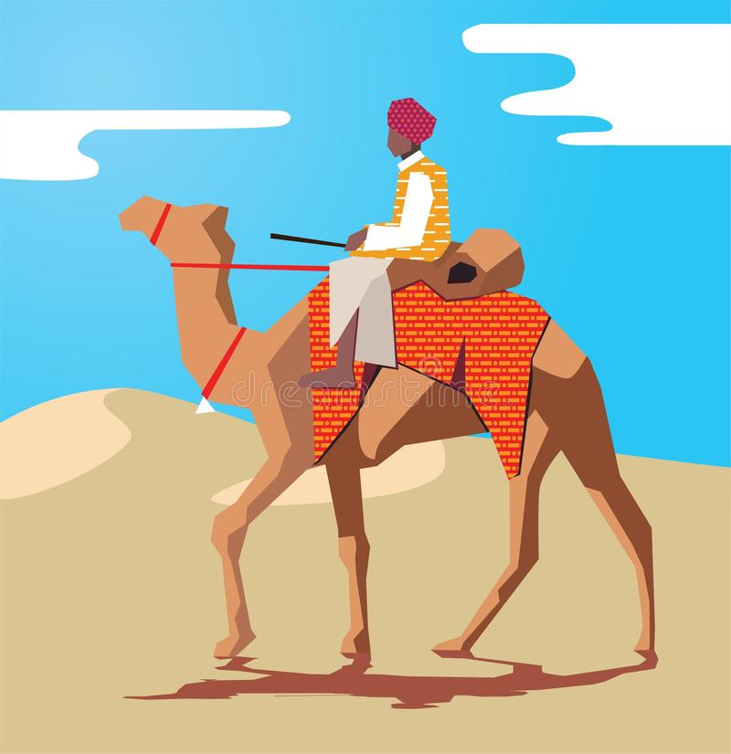 Индийский человек rajasthani на езде верблюда в пустыне иллюстрация штока