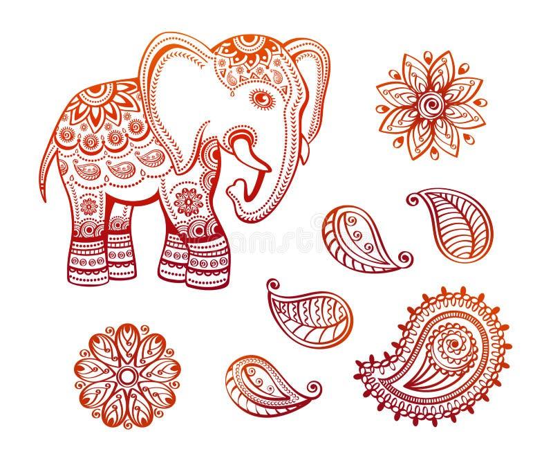 Индийский этнический слон с африканскими племенными лотосом орнаментов и комплектом Пейсли иллюстрация вектора