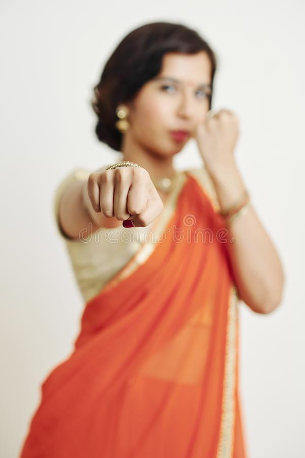 Индийское бой женщины стоковая фотография rf