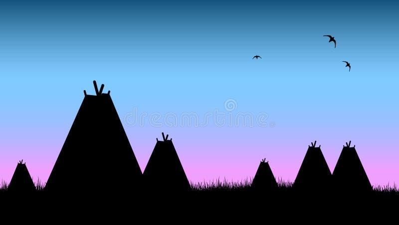 индийское родное село шатров иллюстрация вектора