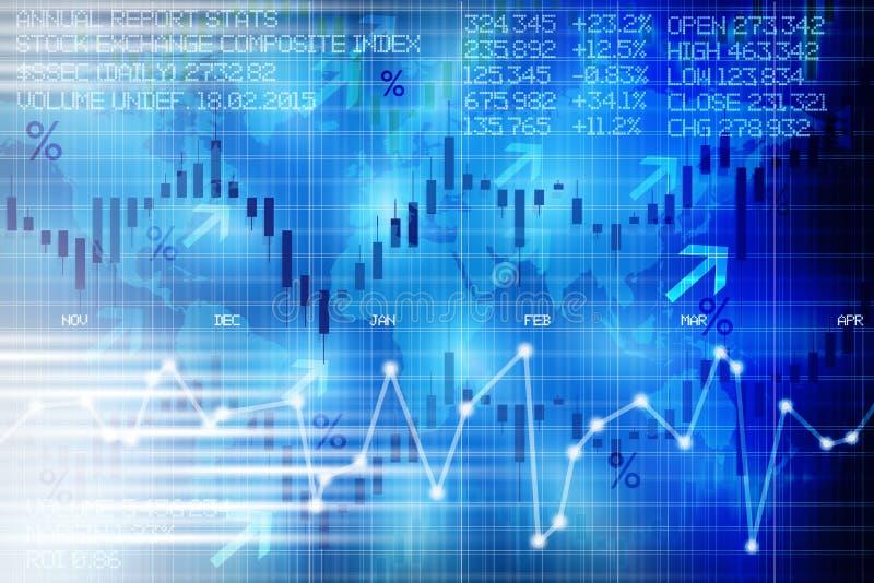 Индикаторная панель абстрактной фондовой биржи цифровая предлагая развитие финансового рынка долей иллюстрация вектора