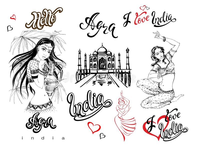 Индия комплект мамы рамок элементов конструкции собрания agoraphobic Эскиз Тадж-Махала Индийские девушки в национальном костюме т иллюстрация штока