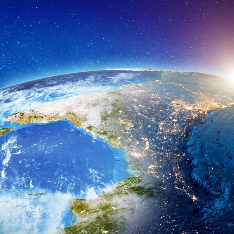 Индия от космоса вечером иллюстрация штока