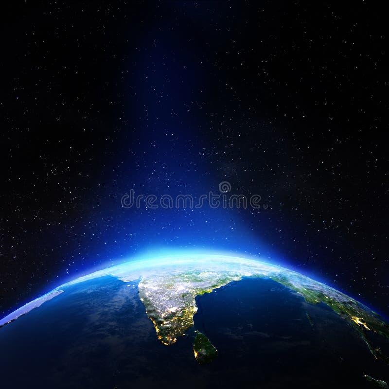 Индия от космоса иллюстрация штока