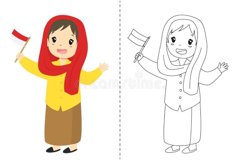 Индонезийская девушка нося Betawi - платье Джакарты традиционное Вектор шаржа плана для крася страницы иллюстрация штока