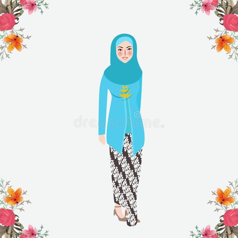 Индонезийские женщины нося Kebaya, платье javanese традиционное с предпосылкой вуали флористической иллюстрация вектора