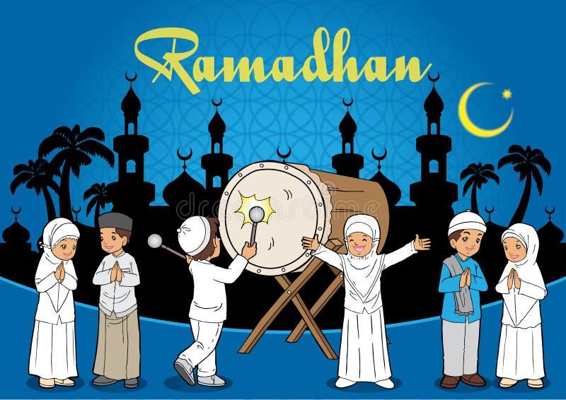 Индонезийские малыши мусульманские иллюстрация штока