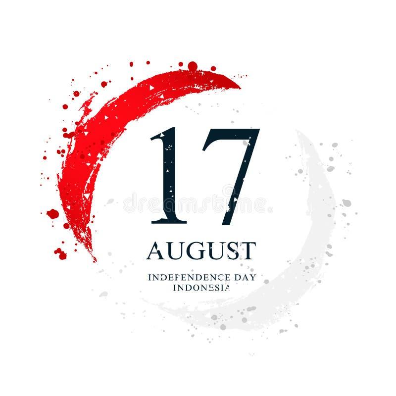 Индонезийский флаг в форме круга 17-ое августа - День независимости Индонезии бесплатная иллюстрация
