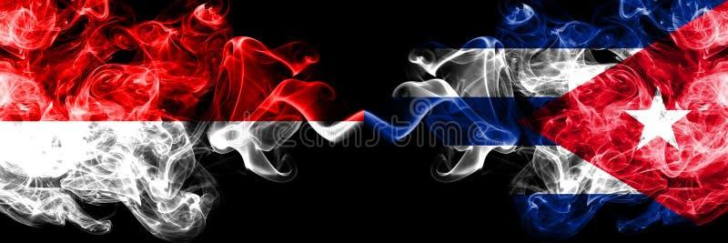 Индонезия против Кубы, кубинськие закоптелые мистические флаги установила сторону - - сторона Толстые покрашенные шелковистые фла иллюстрация вектора