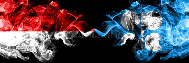 Индонезия против флагов ОПЕК закоптелых мистических установила сторону - - сторона Толстые покрашенные шелковистые флаги дыма Инд бесплатная иллюстрация