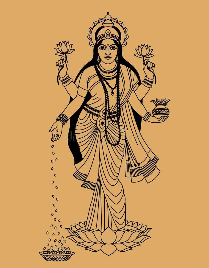 Индусская богина иллюстрация штока