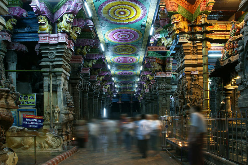 индусский внутренний висок meenakshi madurai стоковое изображение rf