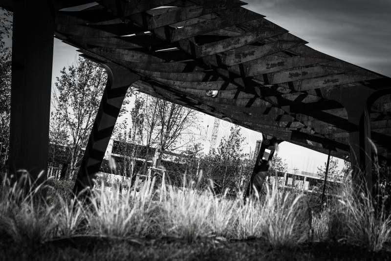 Индустриальный черно-белый ландшафт парка Новая жилая зона стоковое изображение