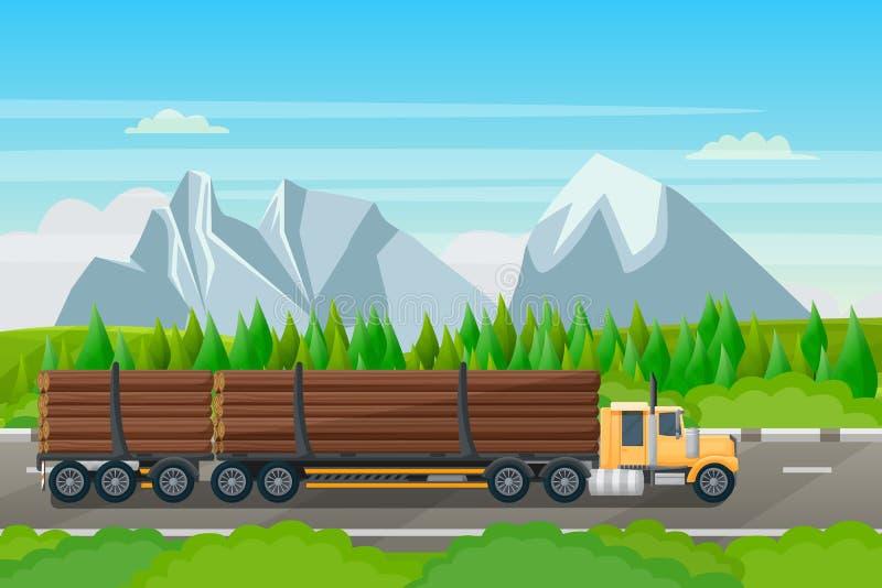 Индустрия транспорта лесохозяйства, иллюстрация вектора плоская Внося в журнал тележка с деревянными ездами тимберса на дороге ле бесплатная иллюстрация