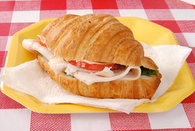 индюк сандвича круасанта стоковое изображение rf