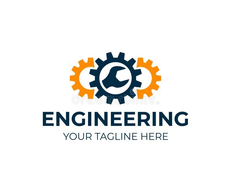 Инженерство, шестерни и ключ, дизайн логотипа Ремонт, обслуживание, индустрия, промышленный и механически, дизайн вектора бесплатная иллюстрация