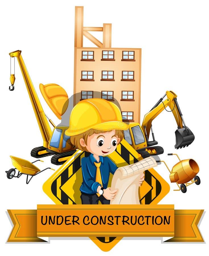 Инженер и здание находясь под конструкцией бесплатная иллюстрация