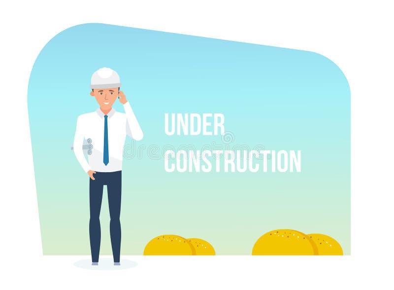 Инженер и здание находясь под шаблонами конструкции бесплатная иллюстрация