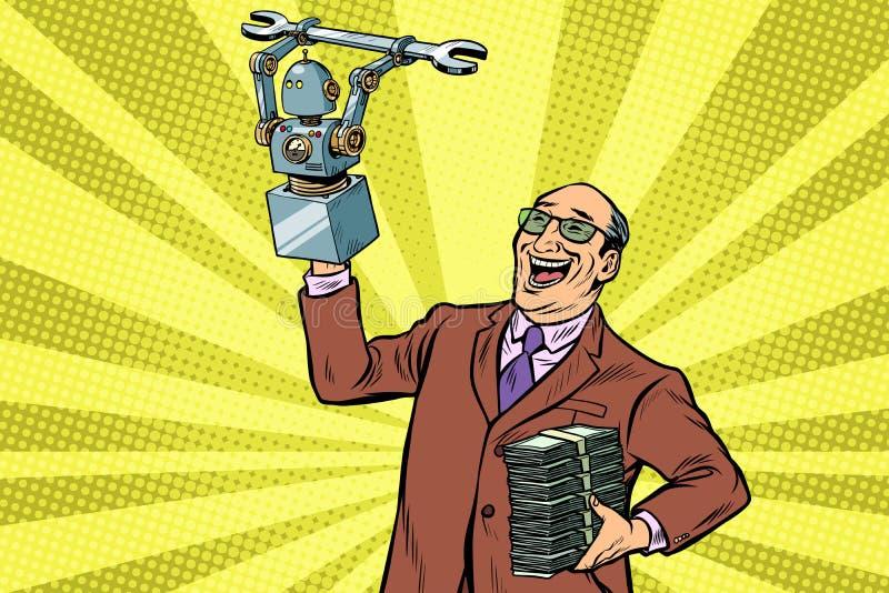 Инженер и робот изобретателя Прогресс новой технологии иллюстрация вектора