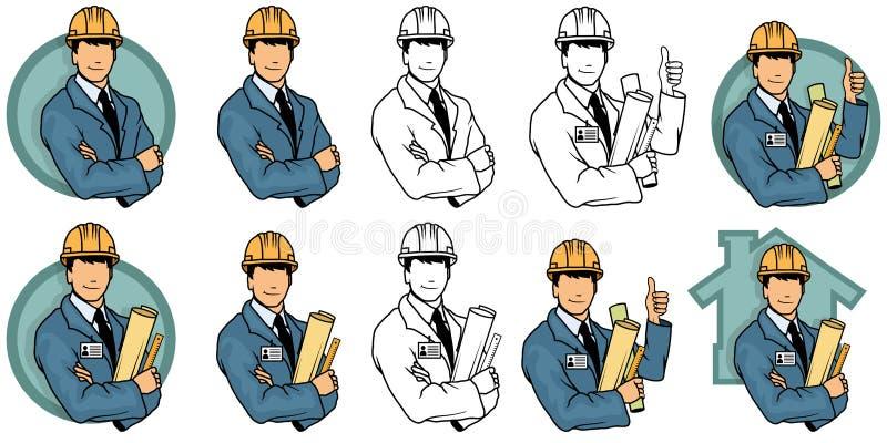 Инженер мультфильма, логотип инженера иллюстрация вектора