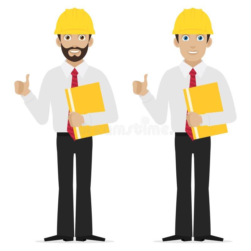 Инженер показывая большие пальцы руки вверх бесплатная иллюстрация