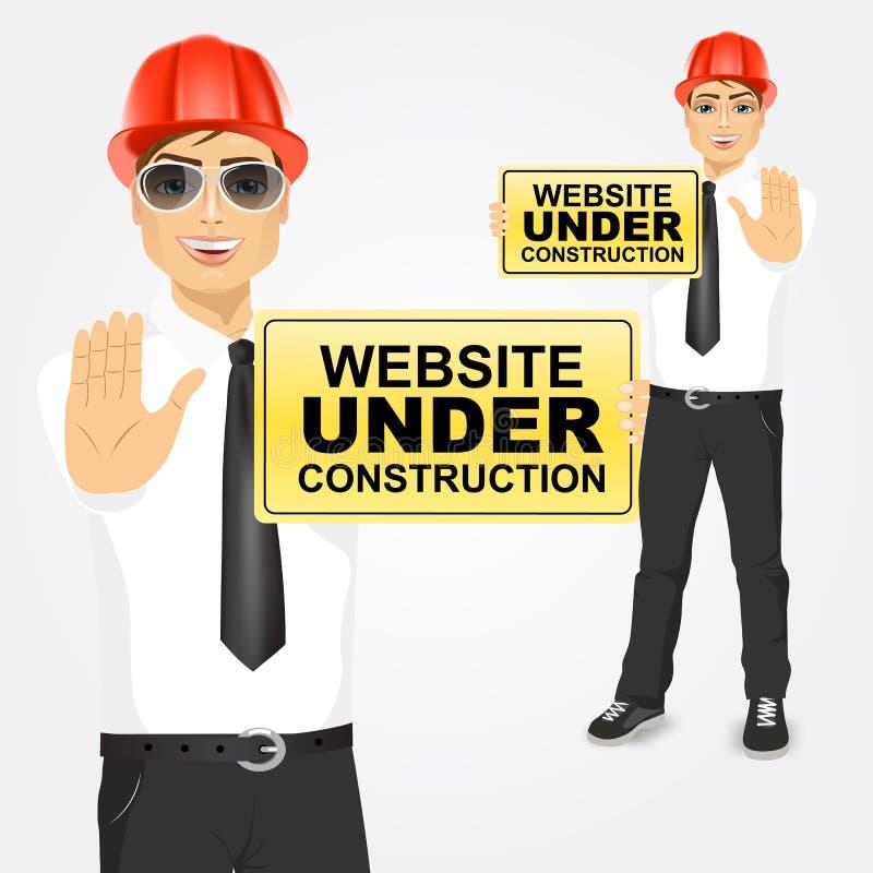 Инженер по строительству и монтажу держа желтый знак иллюстрация вектора