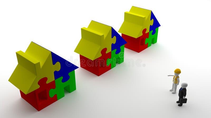 Инженер по строительству и монтажу обсуждая с инвестором о резиденции стоковое фото rf
