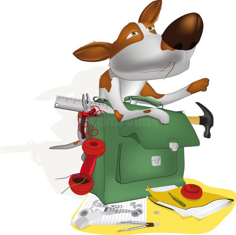 инженер собаки иллюстрация вектора