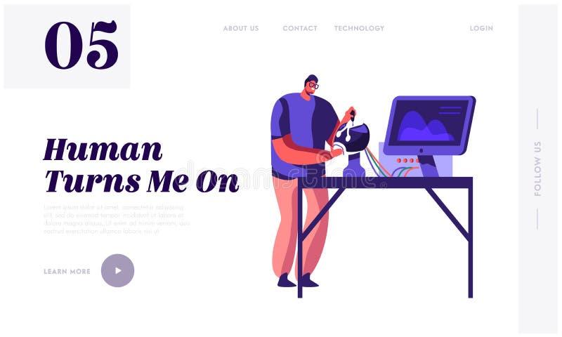 Инженер создавая робот Ученый молодого человека работая с головой робототехники лежа на таблице в лаборатории с оборудованием Hi- бесплатная иллюстрация