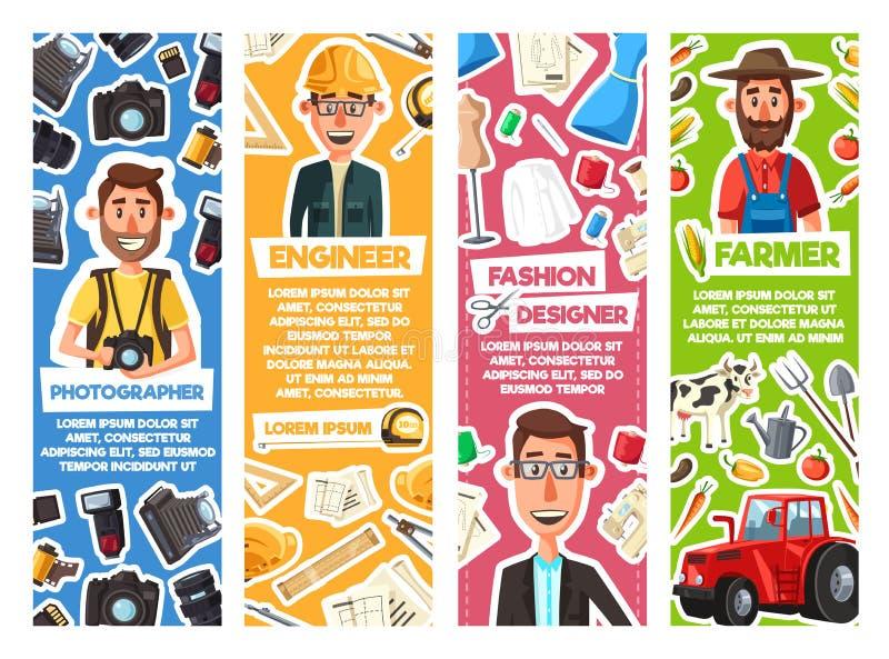 Инженер, фотограф, модельер, фермер бесплатная иллюстрация