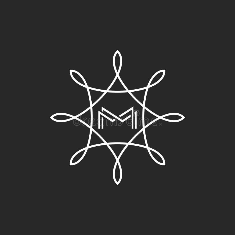 Инициалы писем MM вензеля хипстера, логотип бутика m, флористический модель-макет эмблемы приглашения свадьбы славы иллюстрация штока