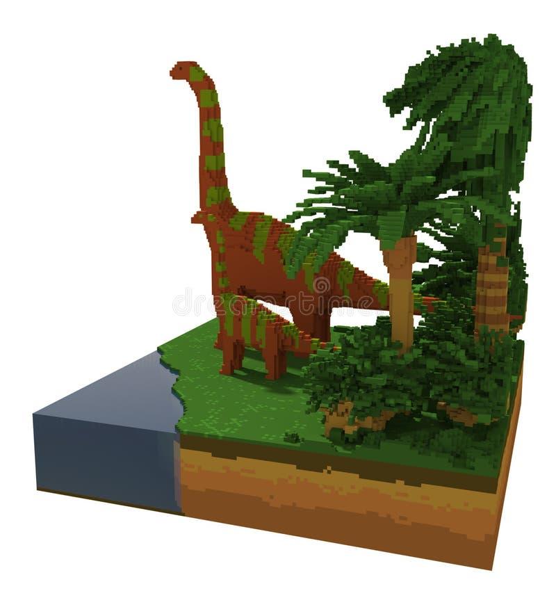динозавры 3d около озера иллюстрация вектора