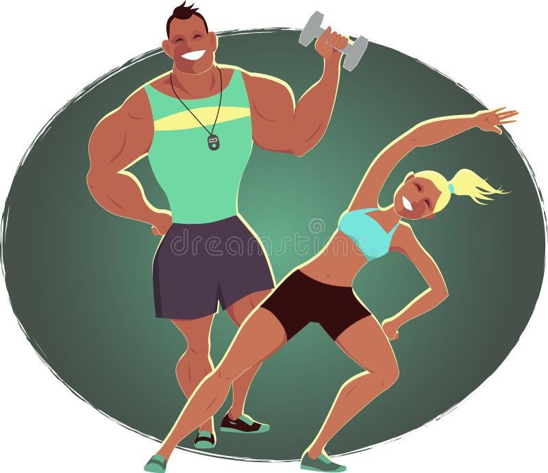 Инструктор фитнеса и личный тренер иллюстрация штока