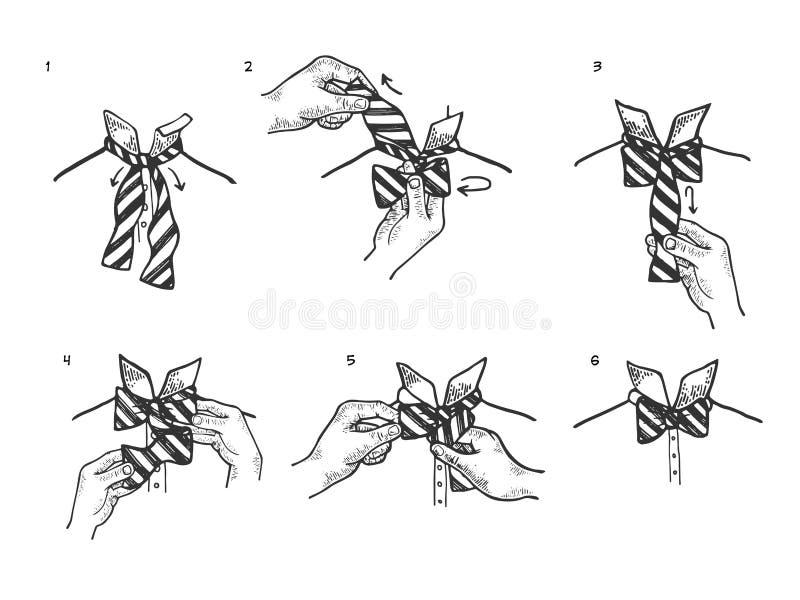 Инструкции бабочки делают эскиз к гравировать вектор иллюстрация штока