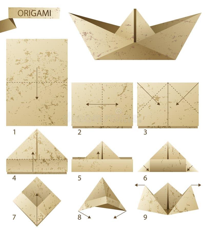 Бумажная шлюпка иллюстрация вектора