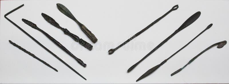 инструментальное произведение Медицинск-хирургии римское Медицина в старом Риме стоковое изображение