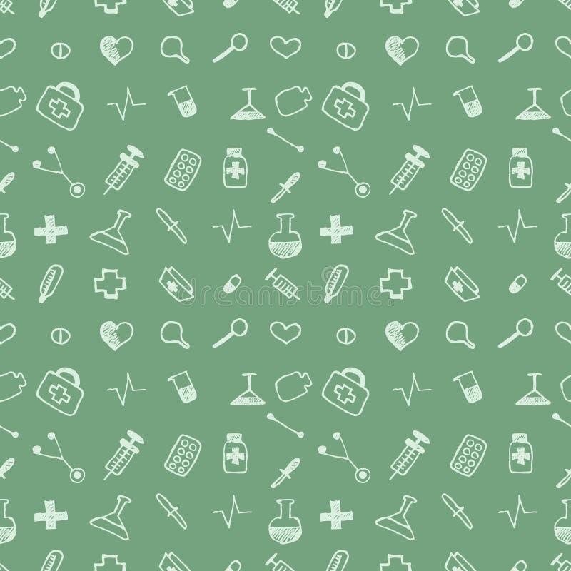 Инструменты безшовной картины вектора медицинские и пилюльки, зеленая хаотическая предпосылка с пилюльками, шприц, термометр, сум иллюстрация вектора
